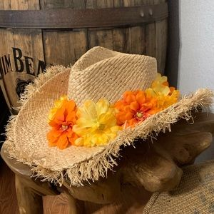 Straw Yellow & Orange Floral Western Country Hat